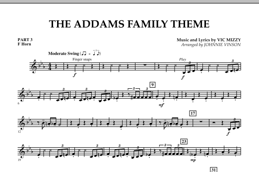 The Addams Family Theme - Pt.3 - F Horn (Concert Band)