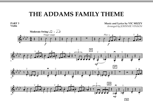 The Addams Family Theme - Pt.3 - Violin (Concert Band)