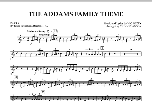 The Addams Family Theme - Pt.4 - Bb Tenor Sax/Bar. T.C. (Concert Band)