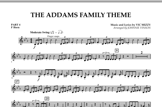 The Addams Family Theme - Pt.4 - F Horn (Concert Band)
