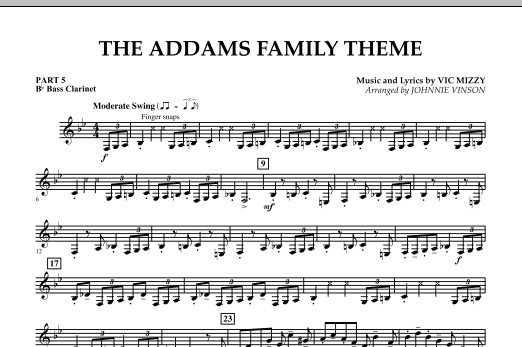 The Addams Family Theme - Pt.5 - Bb Bass Clarinet (Concert Band)