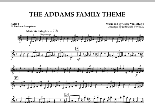The Addams Family Theme - Pt.5 - Eb Baritone Saxophone (Concert Band)