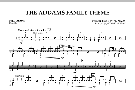 The Addams Family Theme - Percussion 1 (Concert Band)