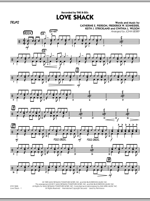 Love Shack - Drums - Sheet Music to Download