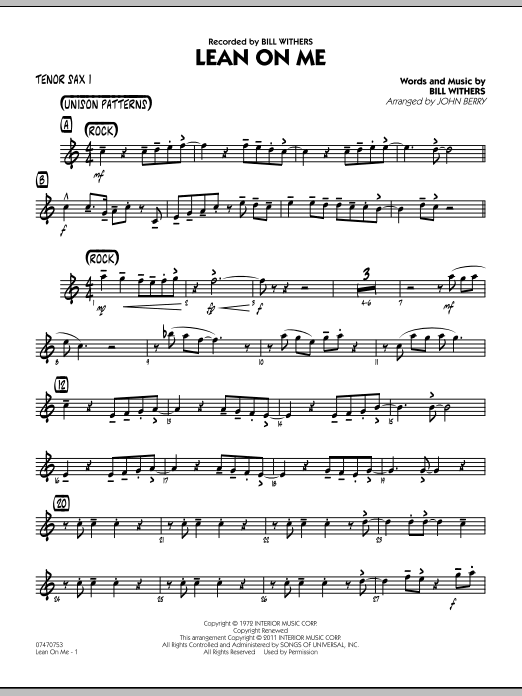 Lean On Me - Tenor Sax 1 (Jazz Ensemble)
