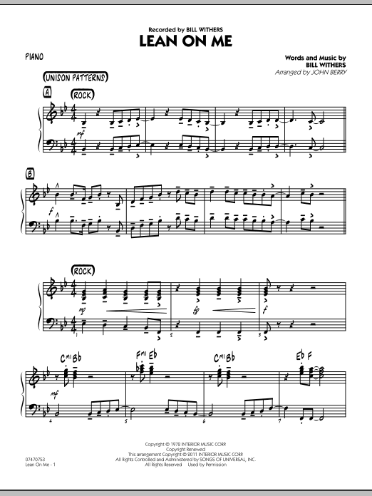 Lean On Me - Piano Sheet Music