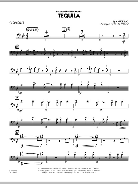 Tequila - Trombone 1 Sheet Music   Mark Taylor   Jazz Ensemble
