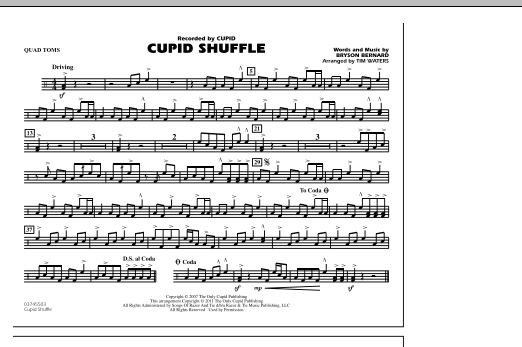 Cupid Shuffle - Quad Toms (Marching Band)