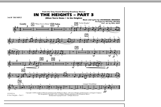 In The Heights: Part 3 - 3rd Bb Trumpet (Marching Band)
