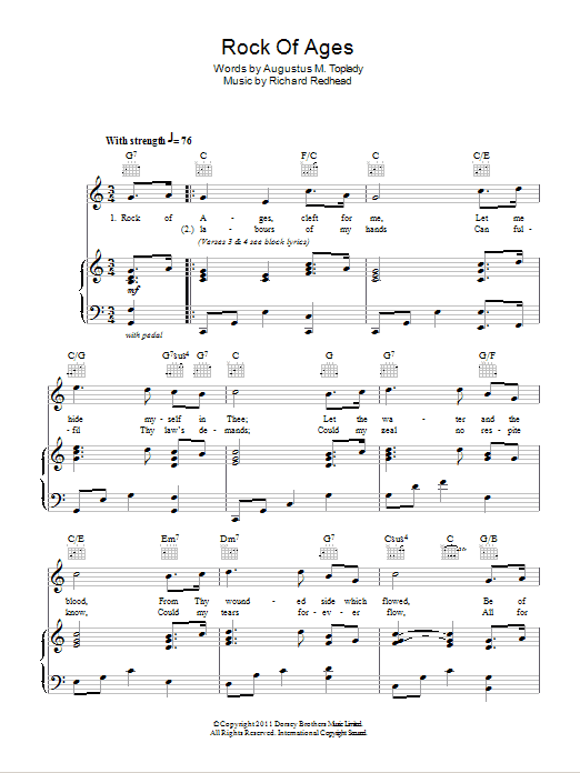 Rock Of Ages (Piano, Vocal & Guitar)