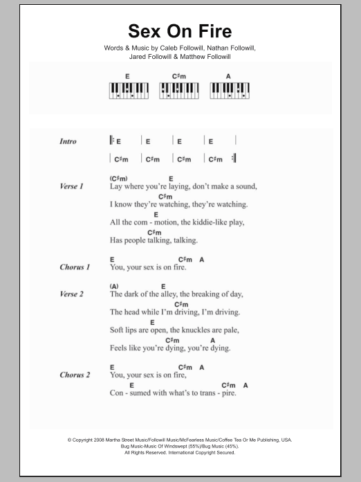 Sex On Fire By Kings Of Leon Piano Vocal Guitar Right Hand Melody Digital Sheet Music