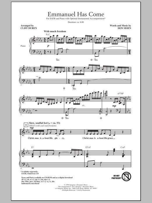 Emmanuel Has Come (SATB Choir)