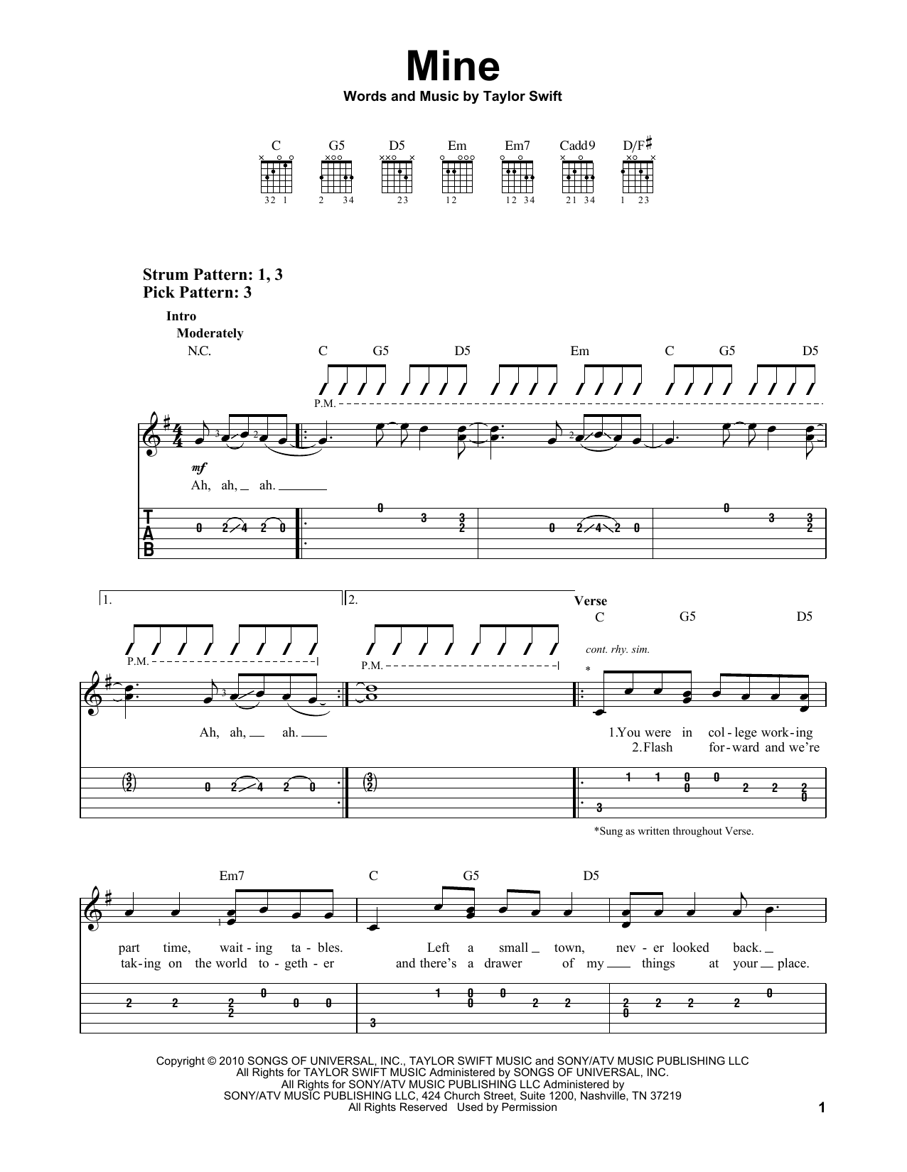 Tablature guitare Mine de Taylor Swift - Tablature guitare facile