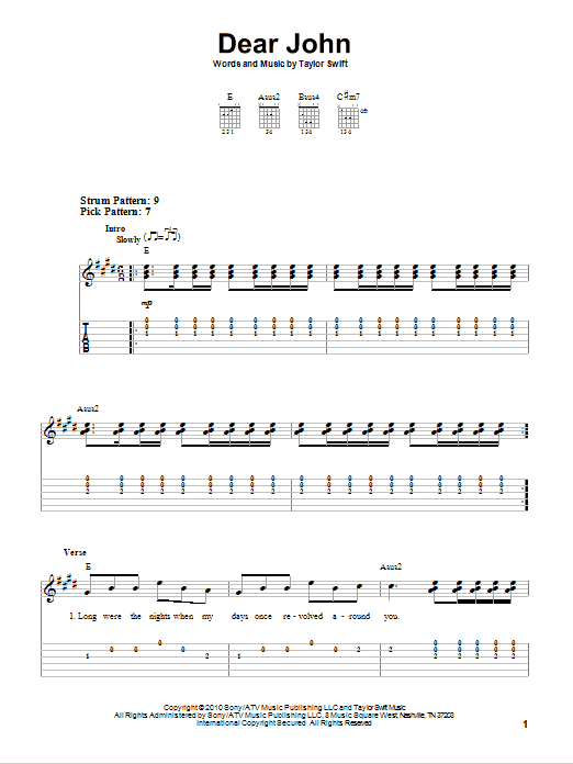 Tablature guitare Dear John de Taylor Swift - Tablature guitare facile
