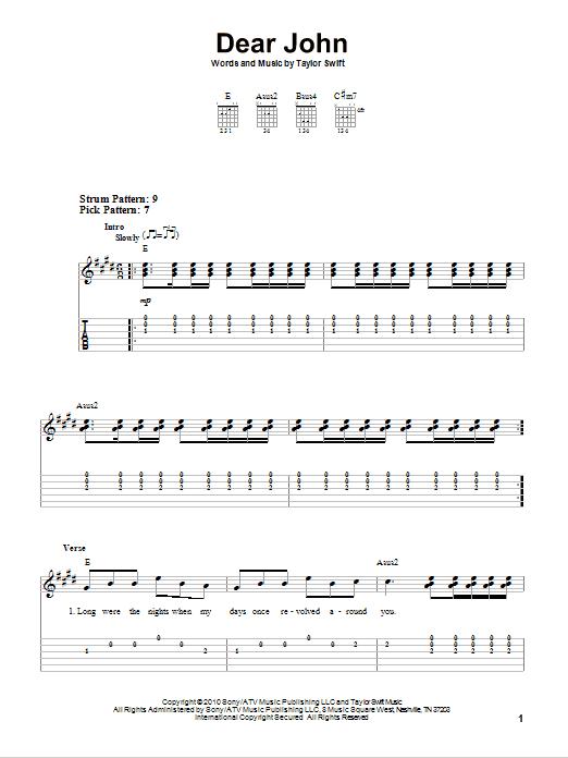 Dear John By Taylor Swift Easy Guitar Tab Guitar Instructor