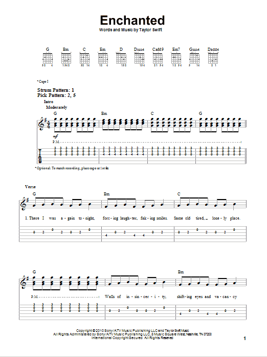 Enchanted By Taylor Swift Easy Guitar Tab Guitar Instructor