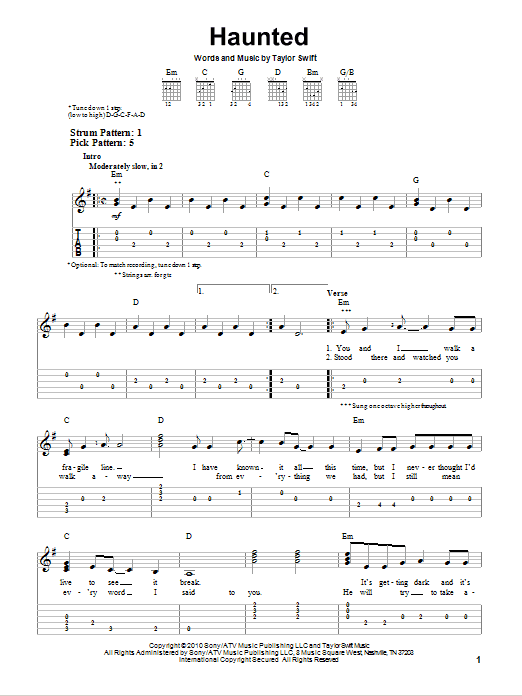 Tablature guitare Haunted de Taylor Swift - Tablature guitare facile
