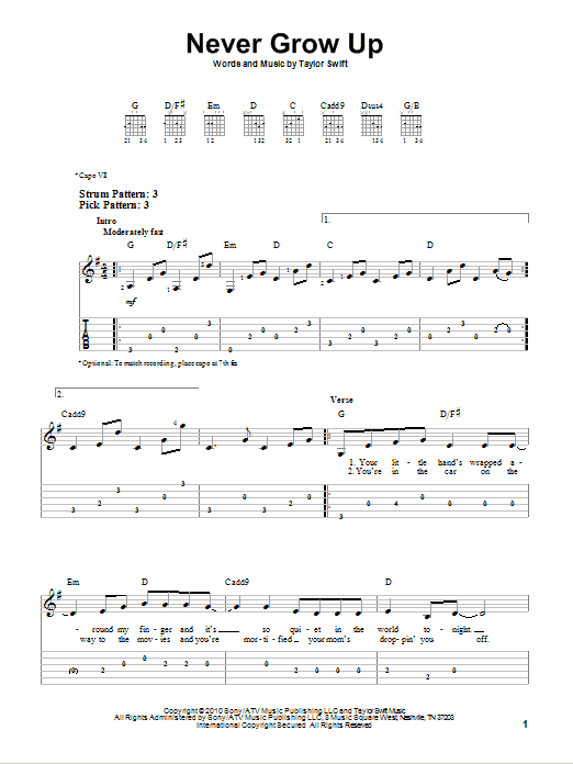 Tablature guitare Never Grow Up de Taylor Swift - Tablature guitare facile