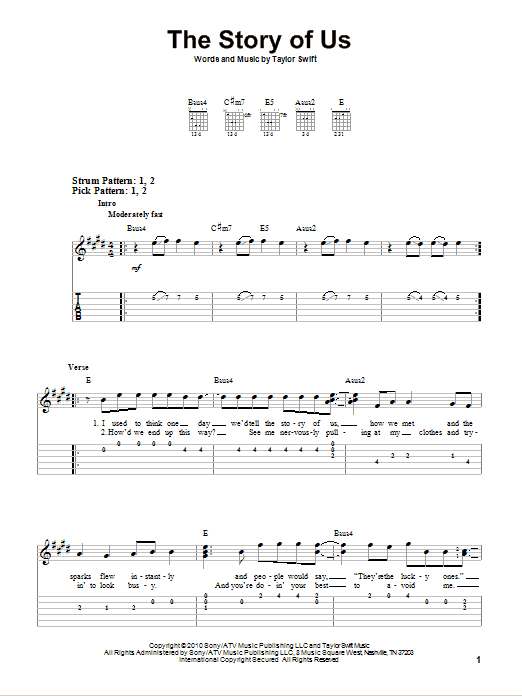 The Story Of Us (Easy Guitar Tab)