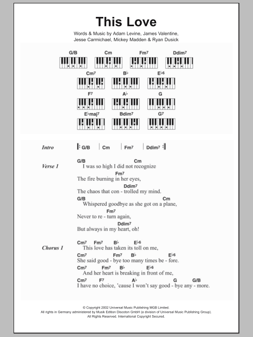 This Love Sheet Music Maroon 5 Lyrics Piano Chords