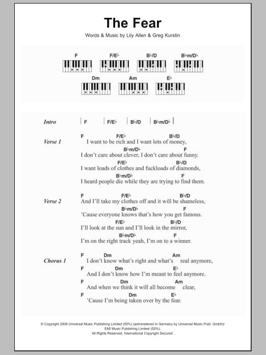 The Fear Sheet Music Lily Allen Lyrics Piano Chords