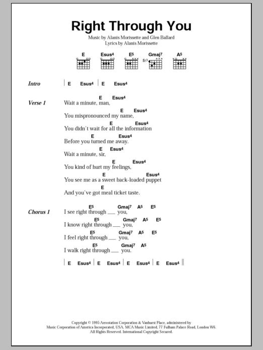 Right Through You By Alanis Morissette Guitar Chordslyrics