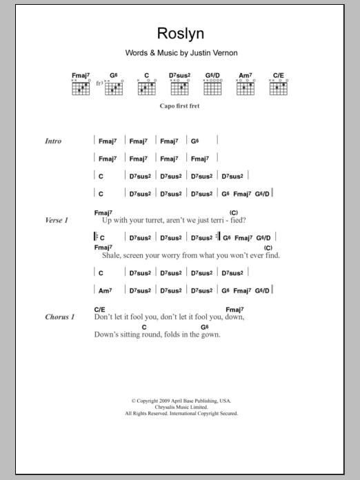 Roslyn by Bon Iver & St. Vincent - Guitar Chords/Lyrics - Guitar ...