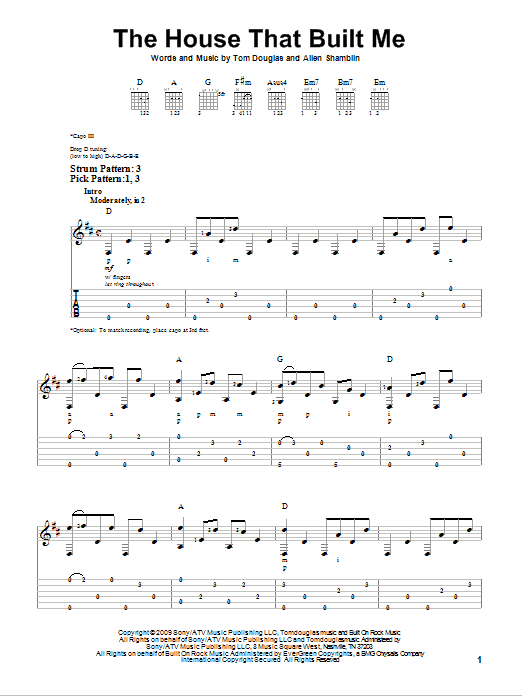Tablature guitare The House That Built Me de Miranda Lambert - Tablature guitare facile
