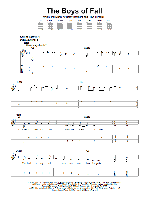 The Boys Of Fall (Easy Guitar Tab)