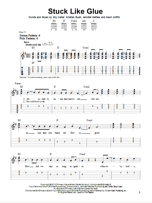 Tablature guitare Stuck Like Glue de Sugarland - Tablature guitare facile