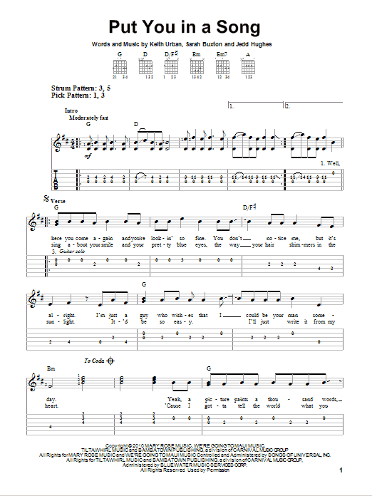 Tablature guitare Put You In A Song de Keith Urban - Tablature guitare facile