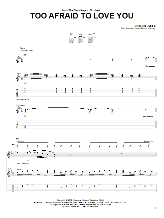 Tablature guitare Too Afraid To Love You de The Black Keys - Tablature Guitare