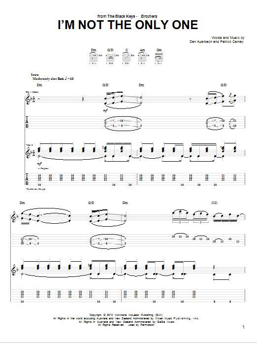 Tablature guitare I'm Not The Only One de The Black Keys - Tablature Guitare