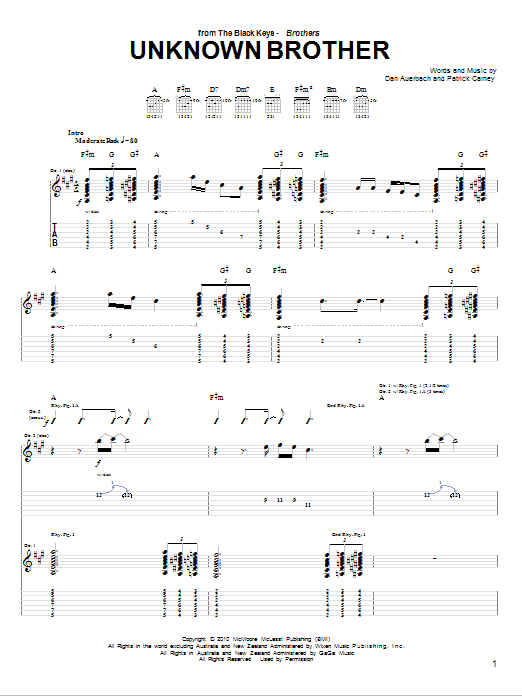 Unknown Brother (Guitar Tab)