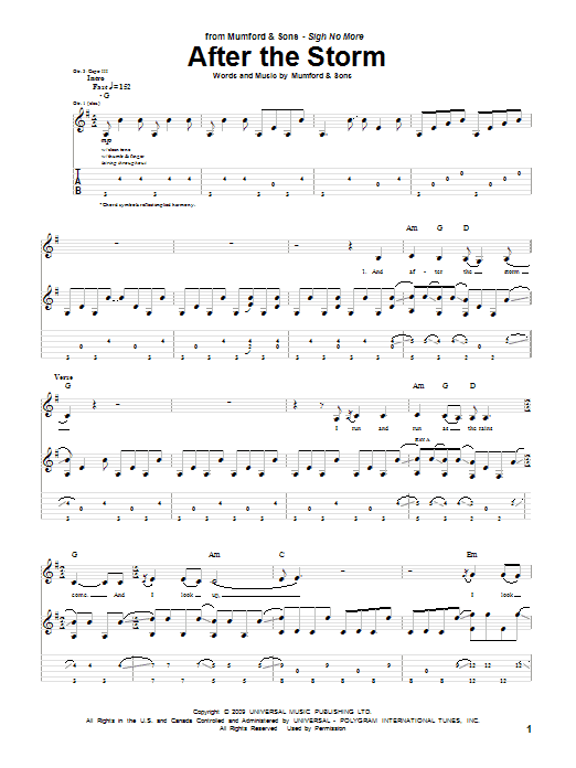 Tablature guitare After The Storm de Mumford & Sons - Tablature Guitare