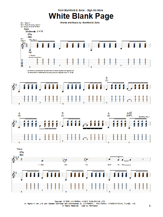 Tablature guitare White Blank Page de Mumford & Sons - Tablature Guitare