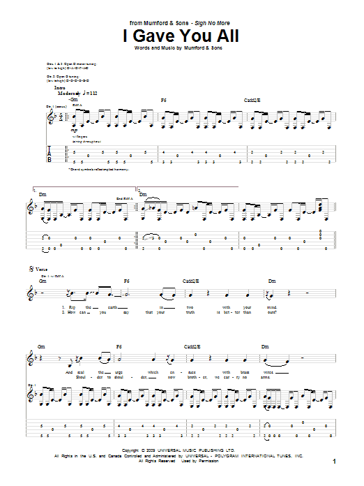 I Gave You All (Guitar Tab)