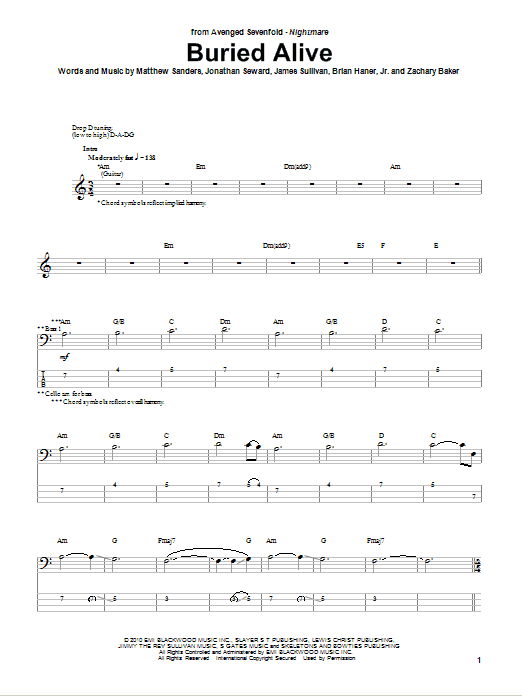 Buried Alive Bass Guitar Tab by Avenged Sevenfold (Bass Guitar Tab ...