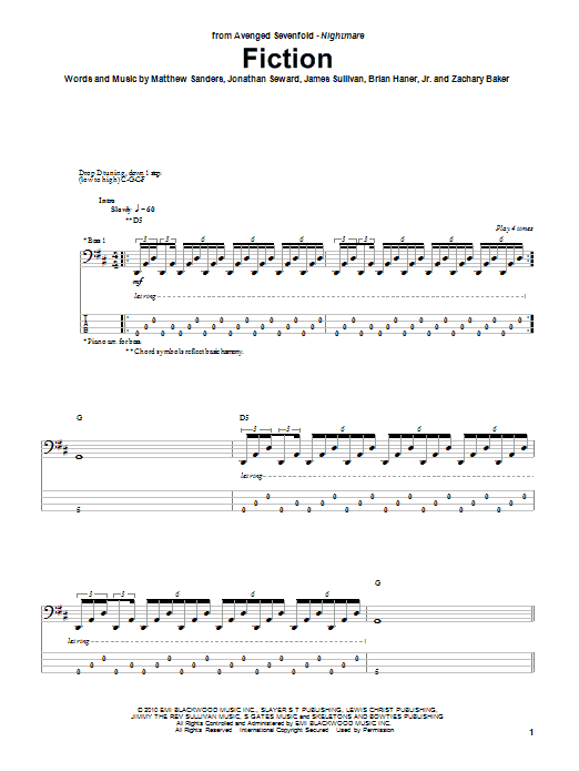 Tablature guitare Fiction de Avenged Sevenfold - Tablature Basse