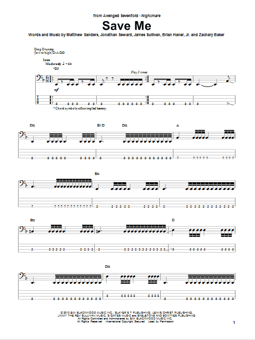 Save Me (Bass Guitar Tab)