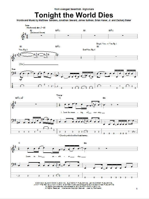 Tonight The World Dies (Bass Guitar Tab)