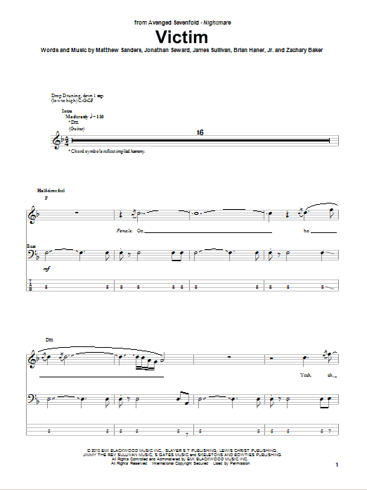 Tablature guitare Victim de Avenged Sevenfold - Tablature Basse