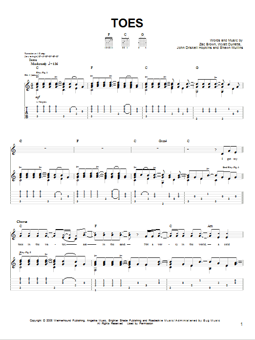 Toes Sheet Music