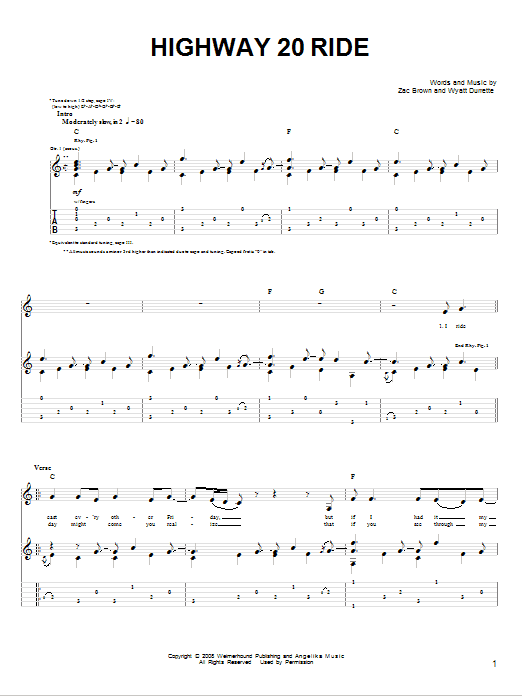 Highway 20 Ride Sheet Music To Download
