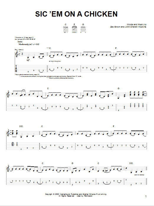 Tablature guitare Sic 'Em On A Chicken de Zac Brown Band - Tablature guitare facile