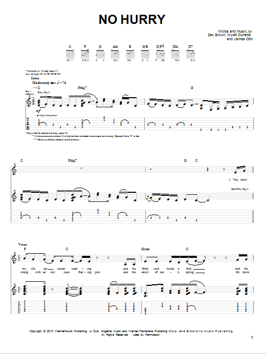 Tablature guitare No Hurry de Zac Brown Band - Tablature guitare facile