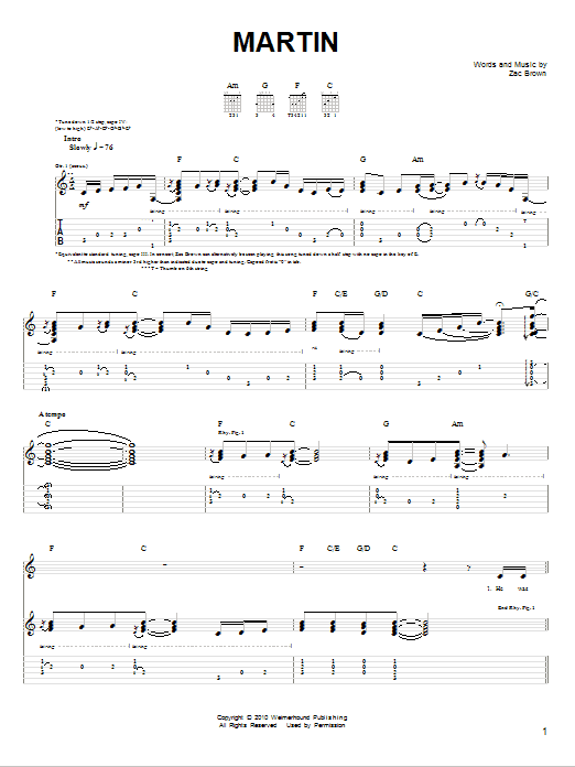 Tablature guitare Martin de Zac Brown Band - Tablature guitare facile