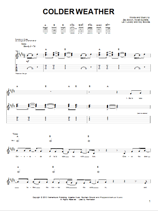 Tablature guitare Colder Weather de Zac Brown Band - Tablature guitare facile