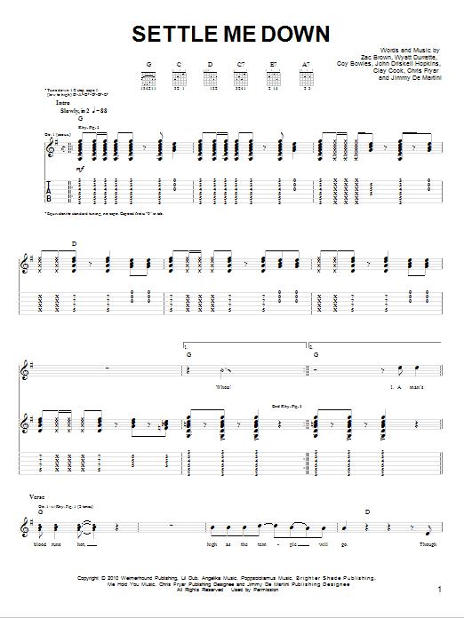 Settle Me Down (Easy Guitar)