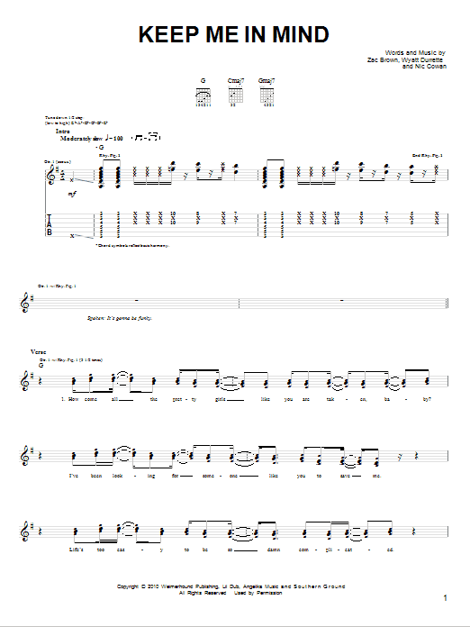 Tablature guitare Keep Me In Mind de Zac Brown Band - Tablature guitare facile
